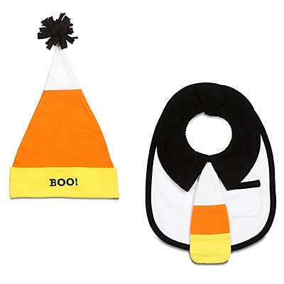 Itty Bitty & Handsome Size 0-12M 2-Piece Mr. Trickster Hat and Bib Set in Orange/Black