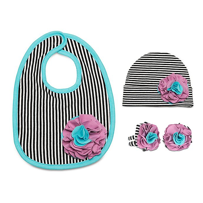 Alternate image 1 for Itty Bitty & Pretty Size 12-24M 3-Piece Hat, Bib and Booties Gift Set in Jazzy Gem