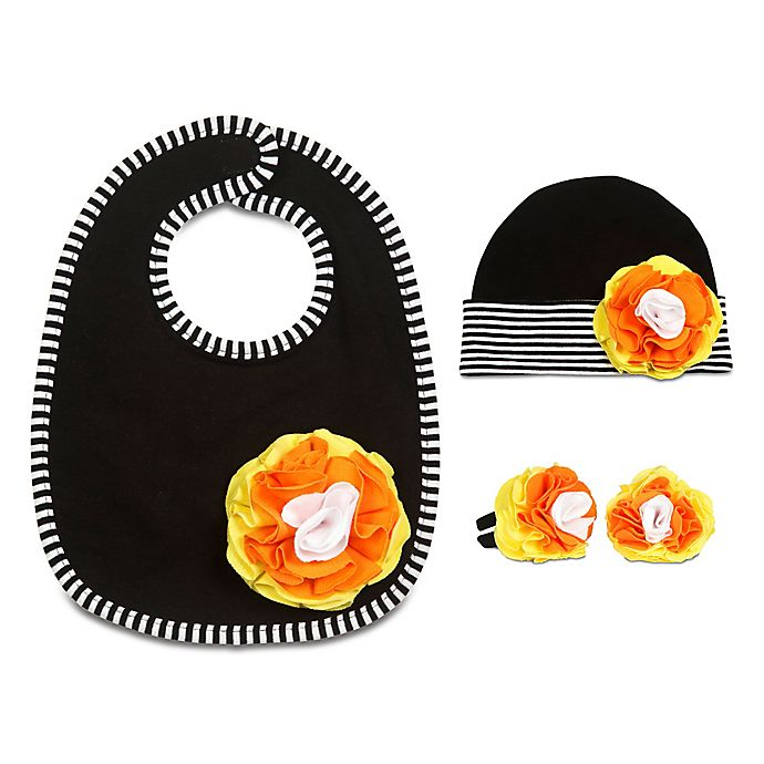 Alternate image 1 for Itty Bitty & Pretty Size 0-12M 3-Piece Hat, Bib and Booties Gift Set in Candy Corn