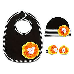 Itty Bitty & Pretty Size 0-12M 3-Piece Hat, Bib and Booties Gift Set in Candy Corn
