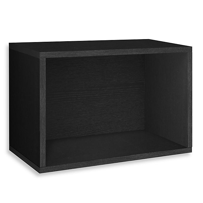 Alternate image 1 for Way Basics Tool-Free Assembly zBoard Paperboard Stackable Rectangle Shelf in Black Wood Grain