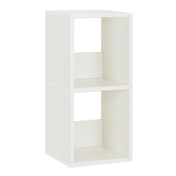 Alternate image 1 for Way Basics Tool-Free Assembly 2-Shelf Duo Narrow Bookcase and Storage Shelf in White