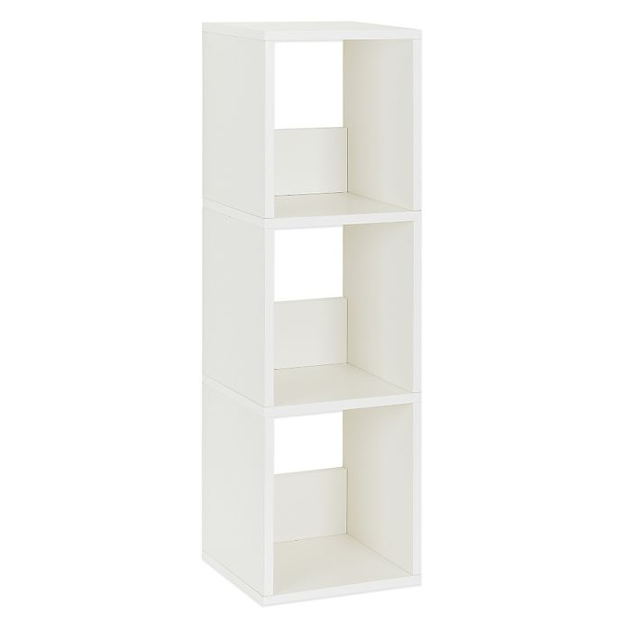 Alternate image 1 for Way Basics Tool-Free Assembly 3-Shelf Trio Narrow Bookcase and Storage Shelf in White