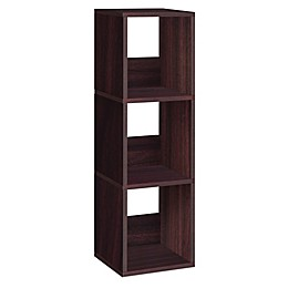 Way Basics Tool-Free Assembly 3-Shelf Trio Narrow Bookcase and Storage Shelf in Espresso