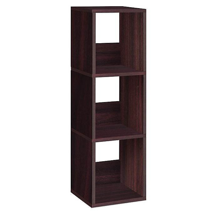 Alternate image 1 for Way Basics Tool-Free Assembly 3-Shelf Trio Narrow Bookcase and Storage Shelf in Espresso