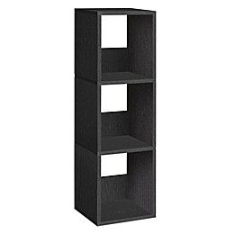 Way Basics Tool-Free Assembly 3-Shelf Trio Narrow Bookcase and Storage Shelf in Black Wood Grain