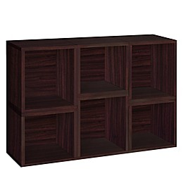 Way Basics Tool-Free Assembly Arlington Stackable Storage Cubes and Bookcase in Espresso (Set of 6)