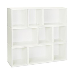 Way Basics Tool-Free Assembly Oxford 9-Piece Stackable Modular Storage and Bookcase in White