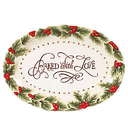 """Fitz and Floyd® """"Baked with Love"""" Oval Cookie Platter"""