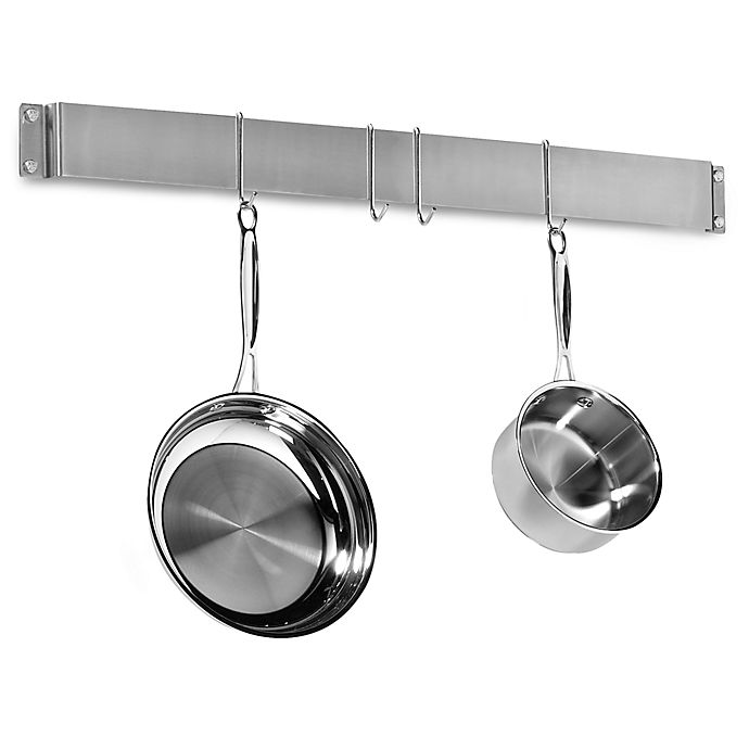 Alternate image 1 for Cuisinart® Brushed Stainless Steel Wall Bar Pot Rack
