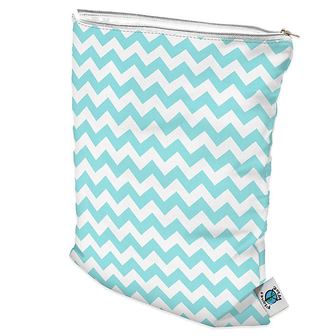 Alternate image 1 for Planet Wise Wet Bag in Teal Chevron