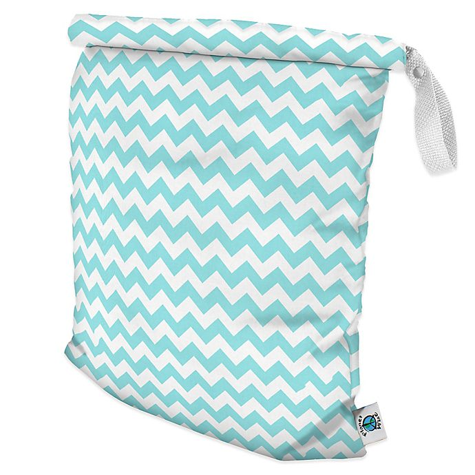 Alternate image 1 for Planet Wise Large Roll-Down Wet Bag in Teal Chevron