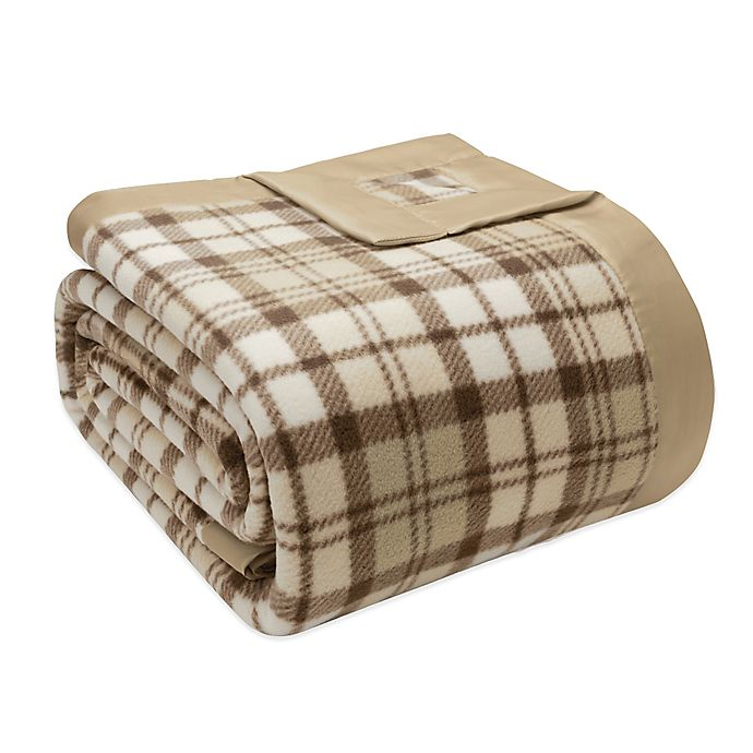 Alternate image 1 for True North by Sleep Philosophy Microfleece Twin Blanket with Satin Binding in Tan Plaid