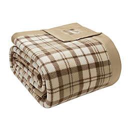 True North by Sleep Philosophy Microfleece Full/Queen Blanket with Satin Binding in Tan Plaid