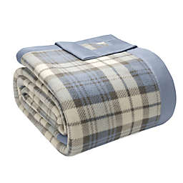 True North by Sleep Philosophy Microfleece Twin Blanket with Satin Binding in Blue Plaid