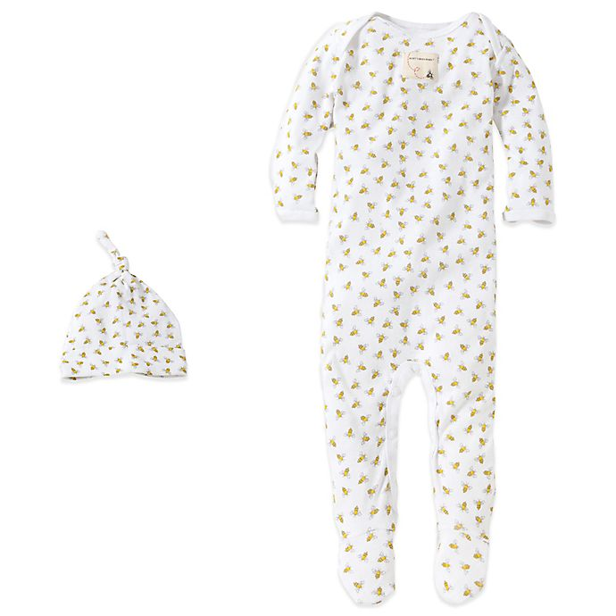 9d39b3104617 Burt's Bees Baby® Organic Cotton 2-Piece Footed Coverall and Hat Set in Bee /White