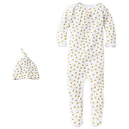 Burt's Bees Baby® Organic Cotton 2-Piece Footed Coverall and Hat Set in Bee/White