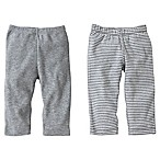 Burt's Bees Baby® Size 0-3M 2-Pack Organic Cotton Footless Pant in Grey Solid/Stripe