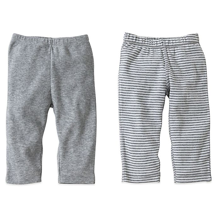 Alternate image 1 for Burt's Bees Baby® 2-Pack Organic Cotton Footless Pant in Grey Solid/Stripe