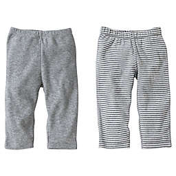 Burt's Bees Baby® 2-Pack Organic Cotton Footless Pant in Grey Solid/Stripe