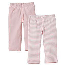 Burt's Bees Baby® 2-Pack Organic Cotton Footless Pant in Pink Solid/Stripe