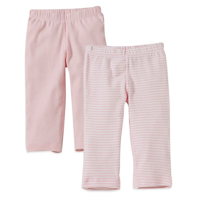 Alternate image 1 for Burt's Bees Baby® 2-Pack Organic Cotton Footless Pant in Pink Solid/Stripe