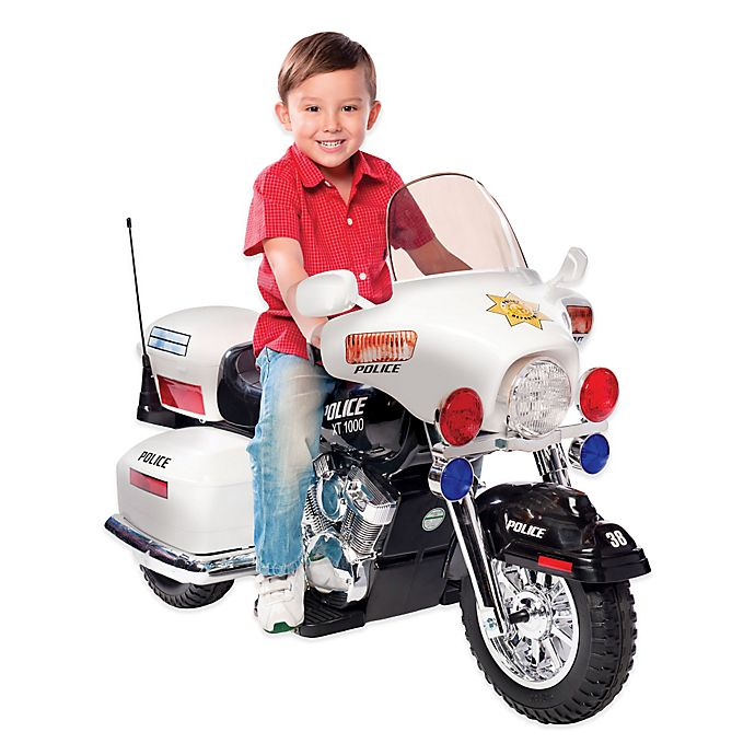 Alternate image 1 for Kid Motorz Patrol H. Police 12-Volt Motorcycle Ride-On in White