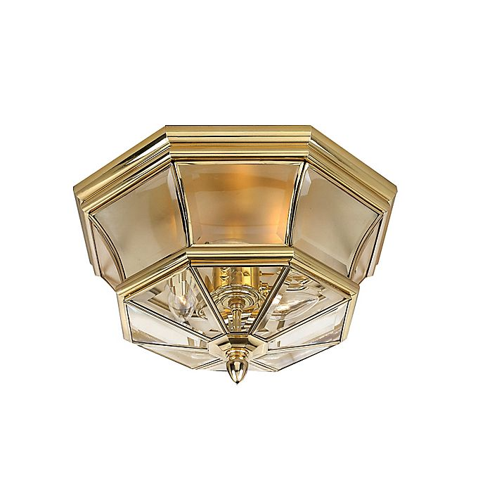 Alternate image 1 for Quoizel Newbury Outdoor Flush Mount in Polished Brass