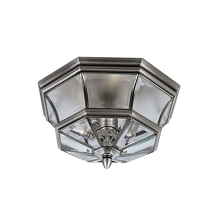 Alternate image 1 for Quoizel Newbury Outdoor Flush Mount in Pewter