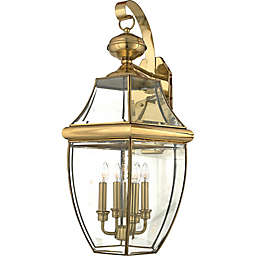 Quoizel Newbury Outdoor Extra-Large Wall Lantern in Polished Brass