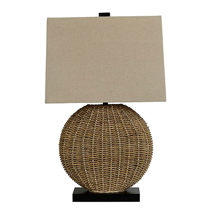 Alternate image 1 for Oval Rattan Table Lamp in Brown
