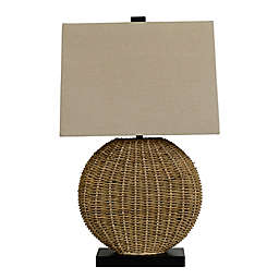 Oval Rattan Table Lamp in Brown