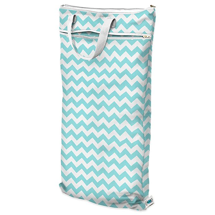 Planet Wise Hanging Wet Dry Bag In Teal Chevron
