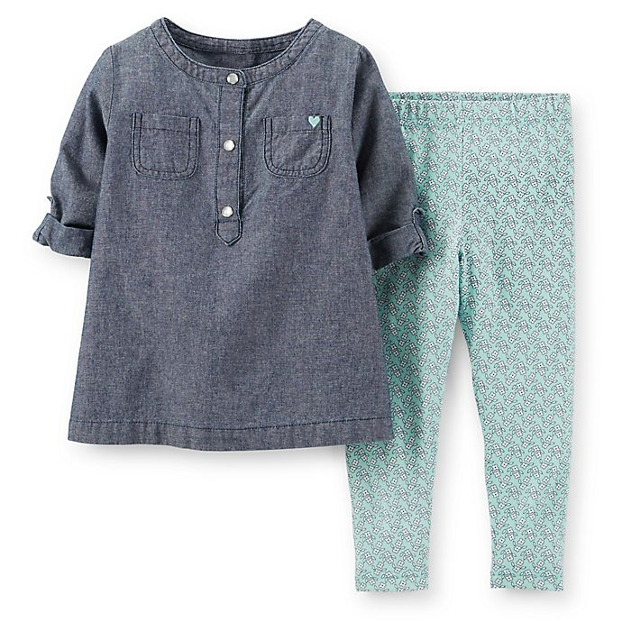abf2f5e703 Carter's® Size 2-Piece Chambray Top and Floral Legging Set | Bed ...