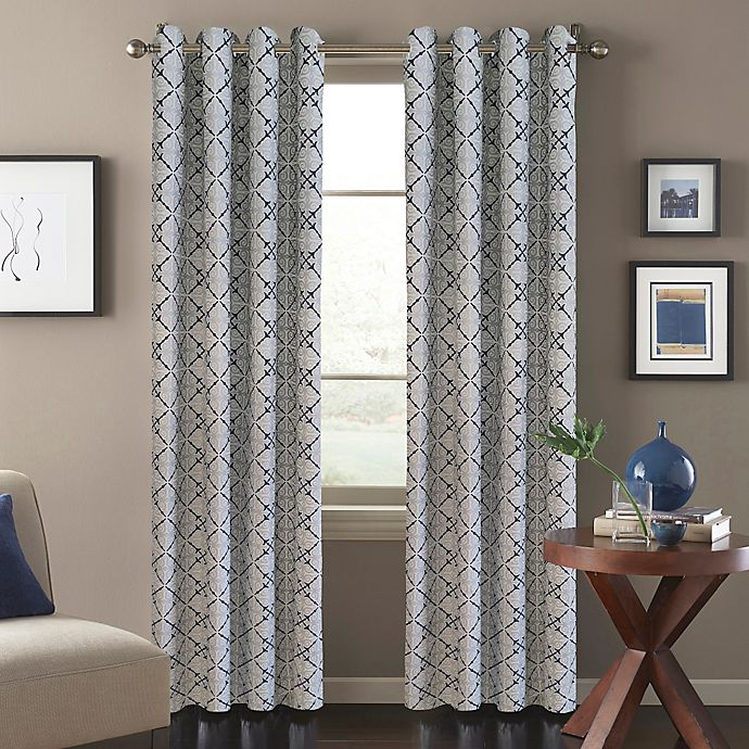 Alternate image 1 for Tile Scroll Window Curtain Panel in Blue