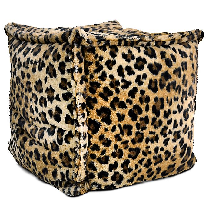 Phenomenal Square Pouf Bean Bag Chair In Brown Leopard Bed Bath Beyond Bralicious Painted Fabric Chair Ideas Braliciousco