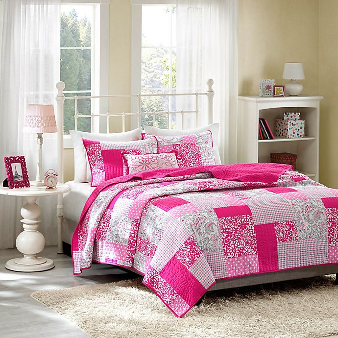 Alternate image 1 for Mi Zone Abbey Pink Plaid Printed Twin/Twin XL Coverlet Bedding Set