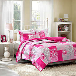 Mi Zone Abbey Pink Plaid Printed Coverlet Bedding Set