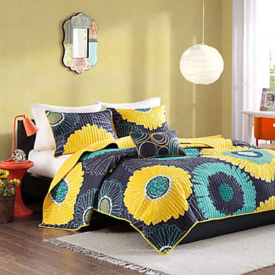 Mi Zone Alice Modern Floral Printed Coverlet Bedding Set