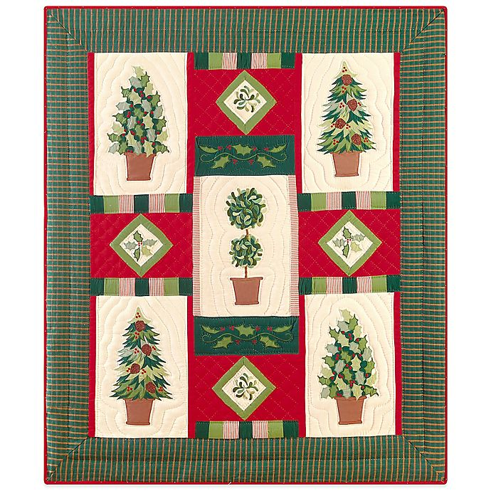 Alternate image 1 for Holiday Festive Topiaries Quilted Throw Blanket