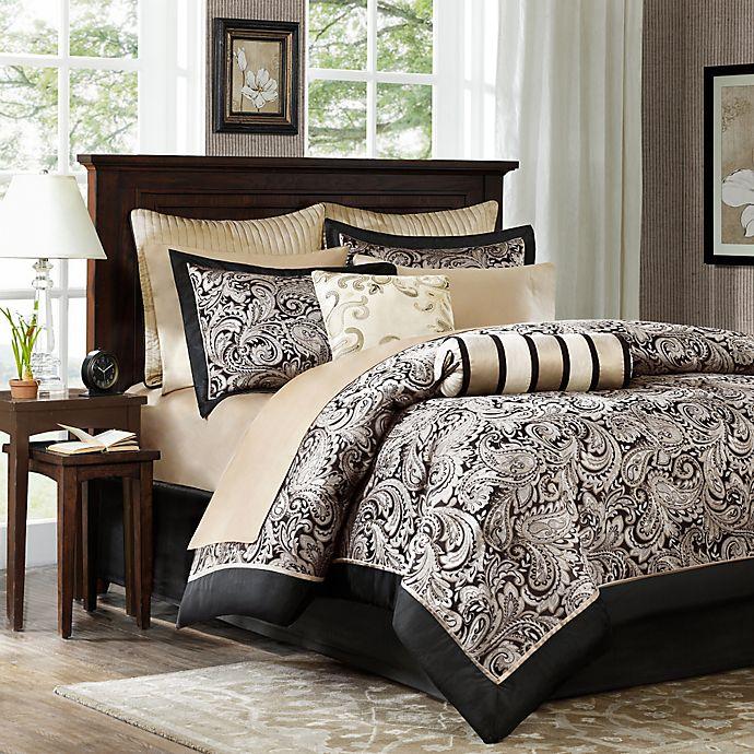 Alternate image 1 for Madison Park Aubrey 12-Piece Reversible Full Comforter Set in Black/Silver