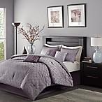 Madison Park Biloxi 7-Piece Queen Comforter Set in Purple