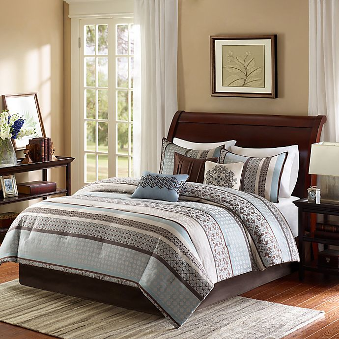 Alternate image 1 for Madison Park Princeton 7-Piece California King Comforter Set in Blue