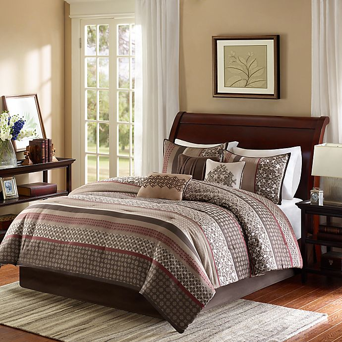 Alternate image 1 for Madison Park Princeton 7-Piece Queen Comforter Set in Red