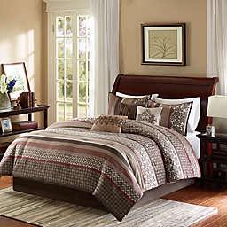 Madison Park Princeton 7-Piece Comforter Set in Red