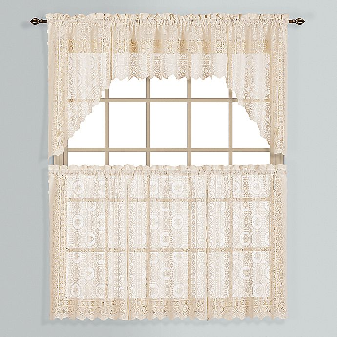 Alternate image 1 for New Rochelle 24-Inch Lace Window Curtain Tier Pair  in Natural