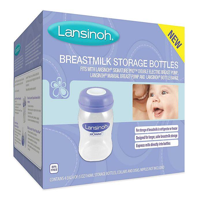 Alternate image 1 for Lansinoh® 4-Pack 5 fl. oz. Breastmilk Storage Bottles