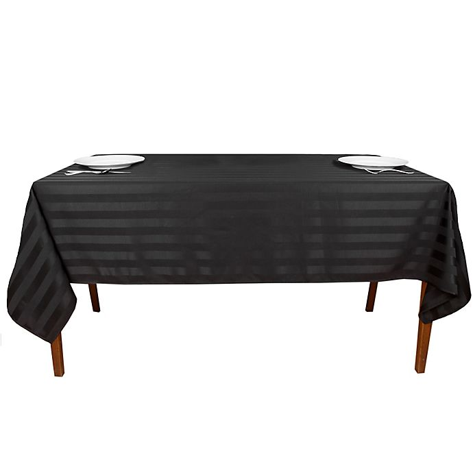 Alternate image 1 for Riegel® Satin Stripe 84-Inch x 60-Inch Oblong Tablecloth in Black
