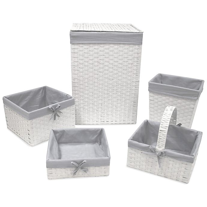 Alternate image 1 for Redmon 5-Piece Hamper Set with Grey Liners in White