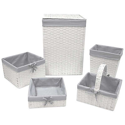 Redmon 5-Piece Hamper Set with Grey Liners in White